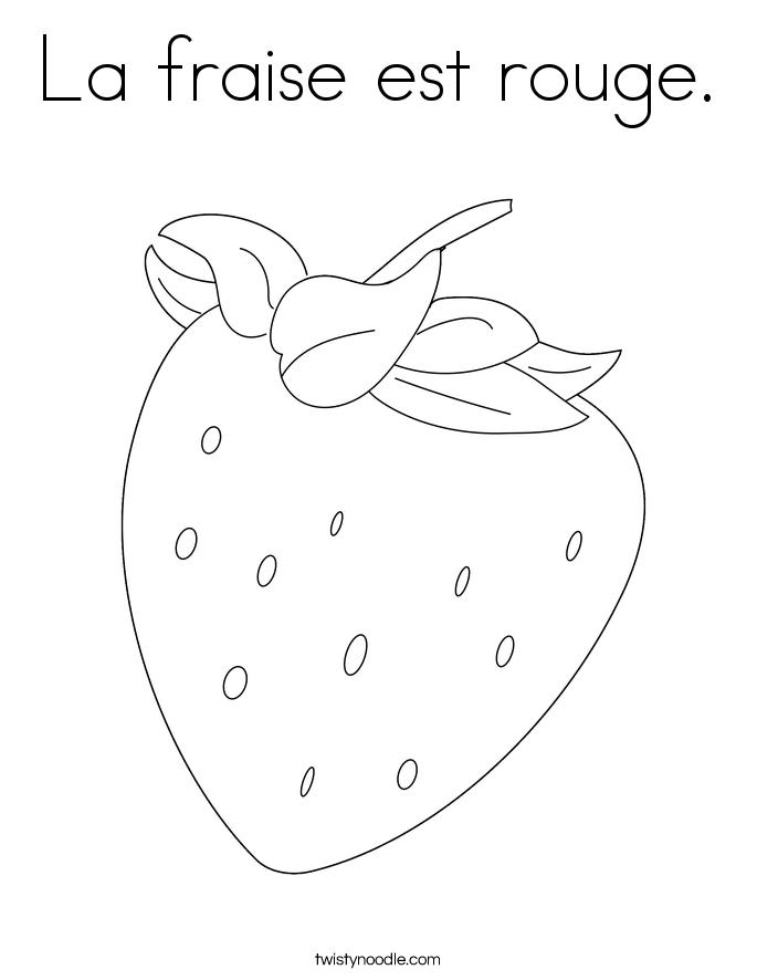 La fraise est rouge. Coloring Page