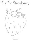 S is for Strawberry Coloring Page