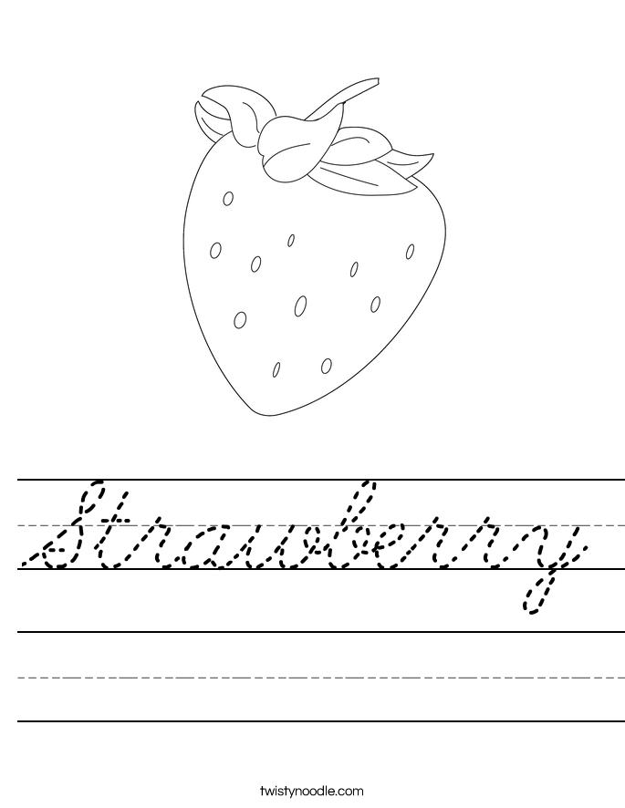 Strawberry Worksheet Cursive Twisty Noodle