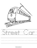 Street Car Handwriting Sheet
