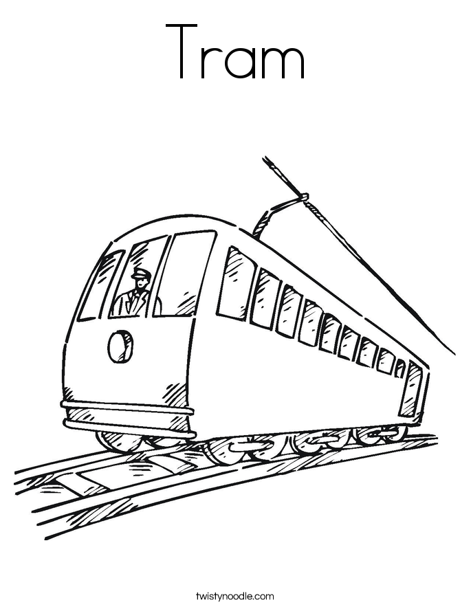 Tram Coloring Page
