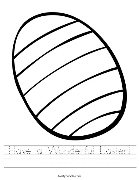 Striped Easter Egg Worksheet