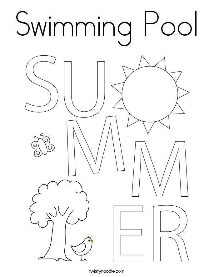 Swimming coloring page