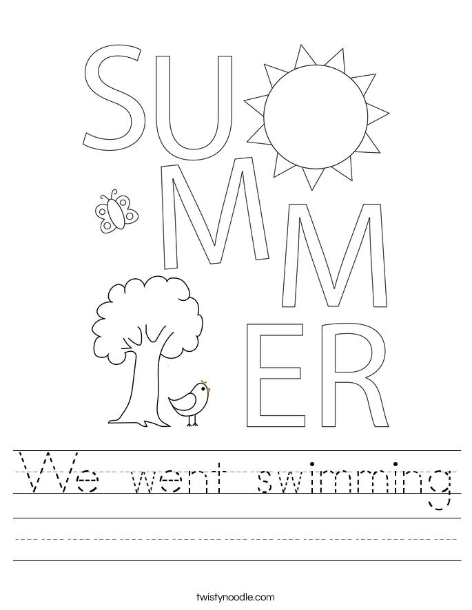 We went swimming Worksheet