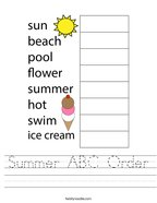 Summer ABC Order Handwriting Sheet