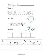 Summer Activity Handwriting Sheet