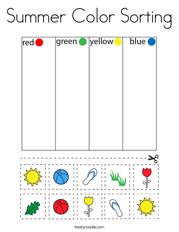 Summer Color Sorting Coloring Page