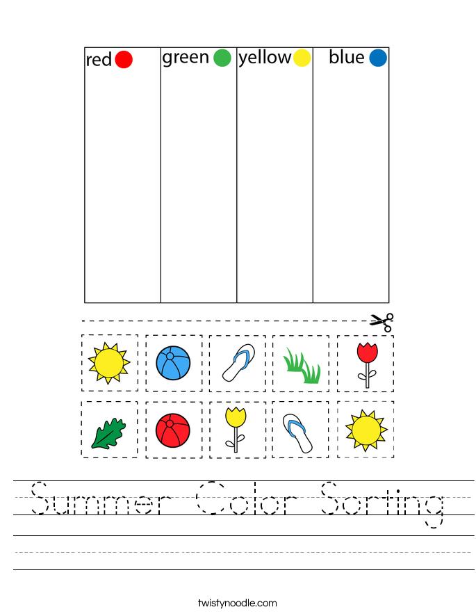 Summer Color Sorting Worksheet
