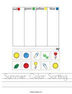 Summer Color Sorting Handwriting Sheet