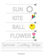 Summer Cutting Strips Handwriting Sheet