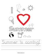 Summer is coming Handwriting Sheet