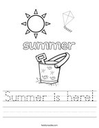 Summer is here Handwriting Sheet