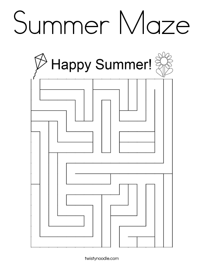 Summer Maze Coloring Page