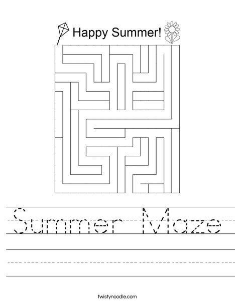 Summer Maze Worksheet
