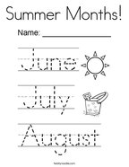 Summer Months Coloring Page