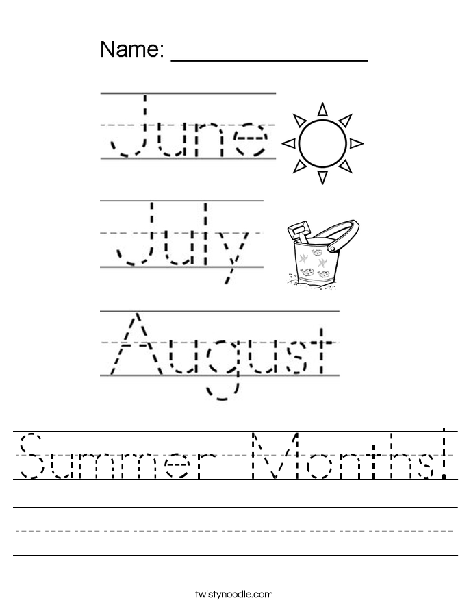 Summer Months! Worksheet