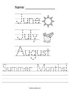 Summer Months Handwriting Sheet