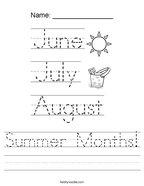 Summer Months Handwriting Sheet