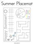 Summer Placemat Coloring Page