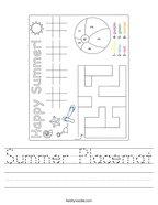 Summer Placemat Handwriting Sheet