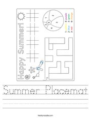 Summer Placemat Handwriting Sheet