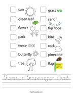 Summer Scavenger Hunt Handwriting Sheet