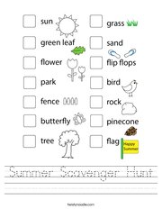Summer Scavenger Hunt Handwriting Sheet