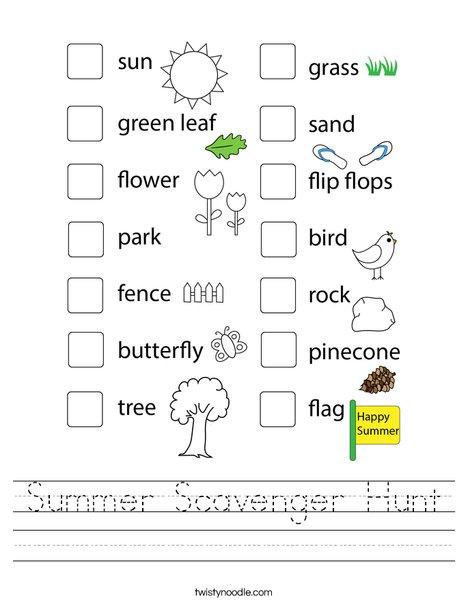 Summer Scavenger Hunt Worksheet