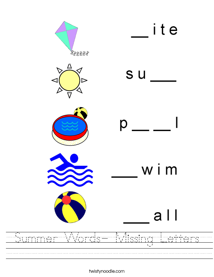 Summer Words- Missing Letters Worksheet