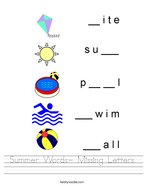 Summer Words- Missing Letters Handwriting Sheet
