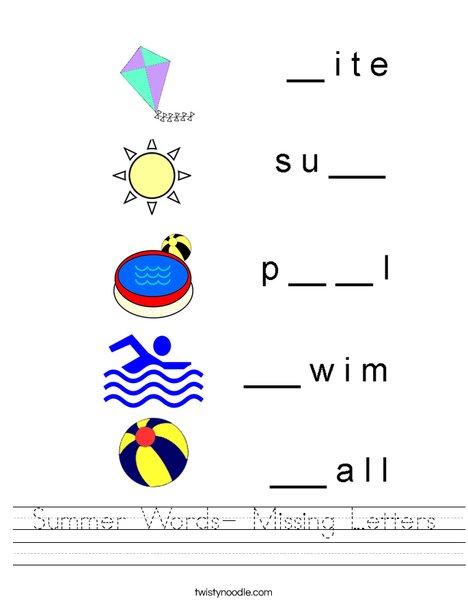 Summer Words- Missing Letters Worksheet
