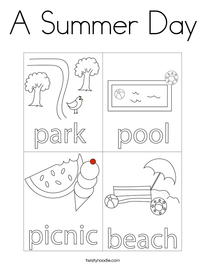 A Summer Day Coloring Page