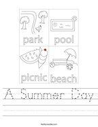 A Summer Day Handwriting Sheet
