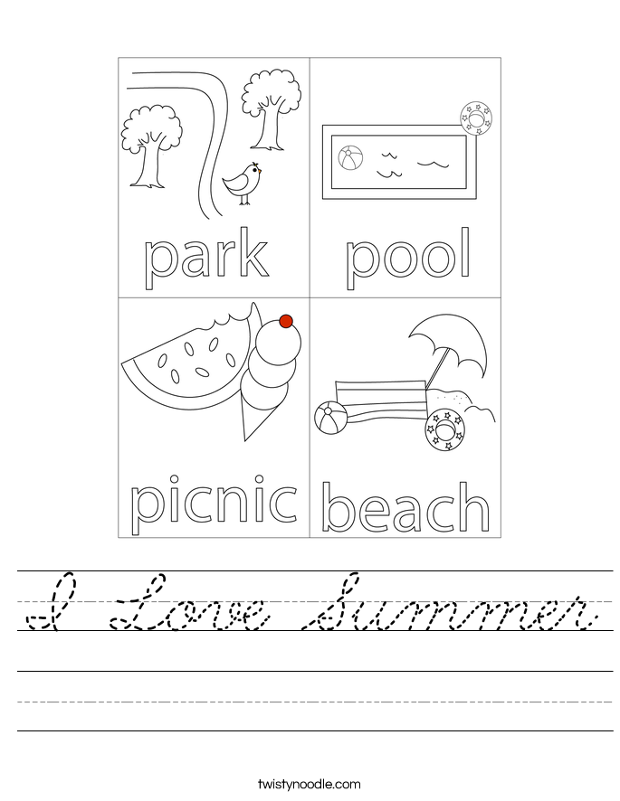 I Love Summer Worksheet