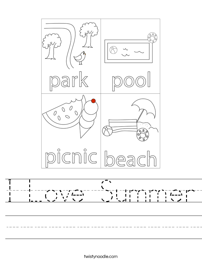 Printables Summer Worksheets i love summer worksheet twisty noodle worksheet