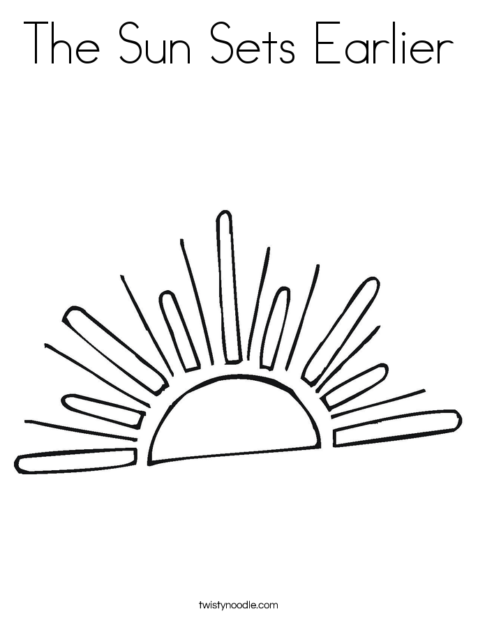 The Sun Sets Earlier Coloring Page