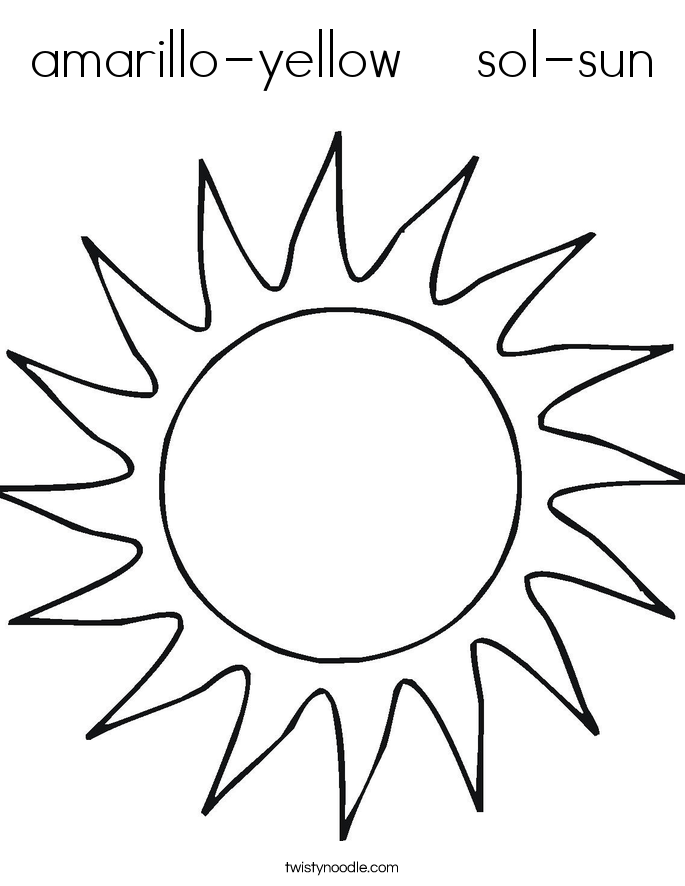amarillo-yellow    sol-sun Coloring Page