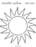 amarillo-yellow    sol-sunColoring Page