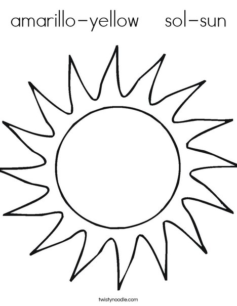 Line Drawing Sun : Amarillo yellow sol sun coloring page twisty noodle