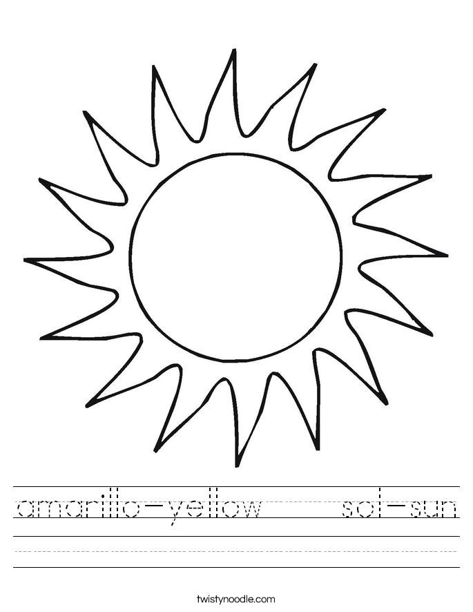 Worksheets Sun Worksheets amarillo yellow sol sun worksheet twisty noodle worksheet
