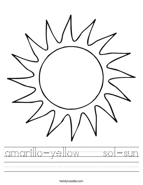 Printables Sun Worksheets amarillo yellow sol sun worksheet twisty noodle worksheet