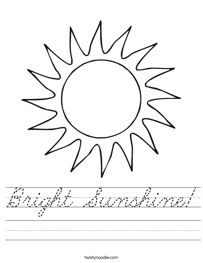 Bright Sunshine! Worksheet