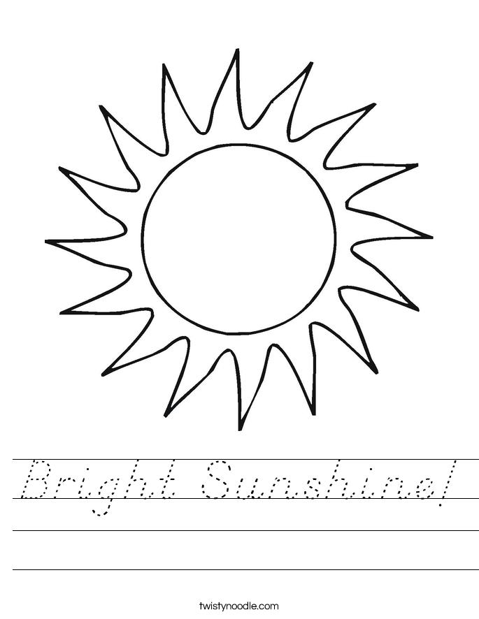 Bright Sunshine! Worksheet