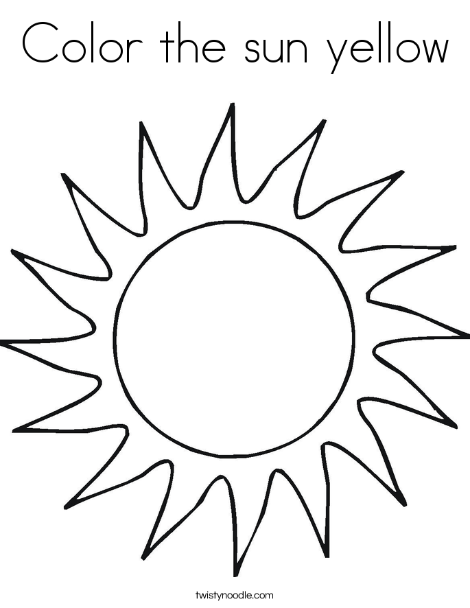 Color the sun yellow Coloring Page