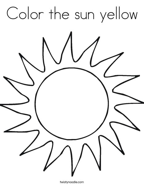 Color the sun yellow Coloring Page - Twisty Noodle