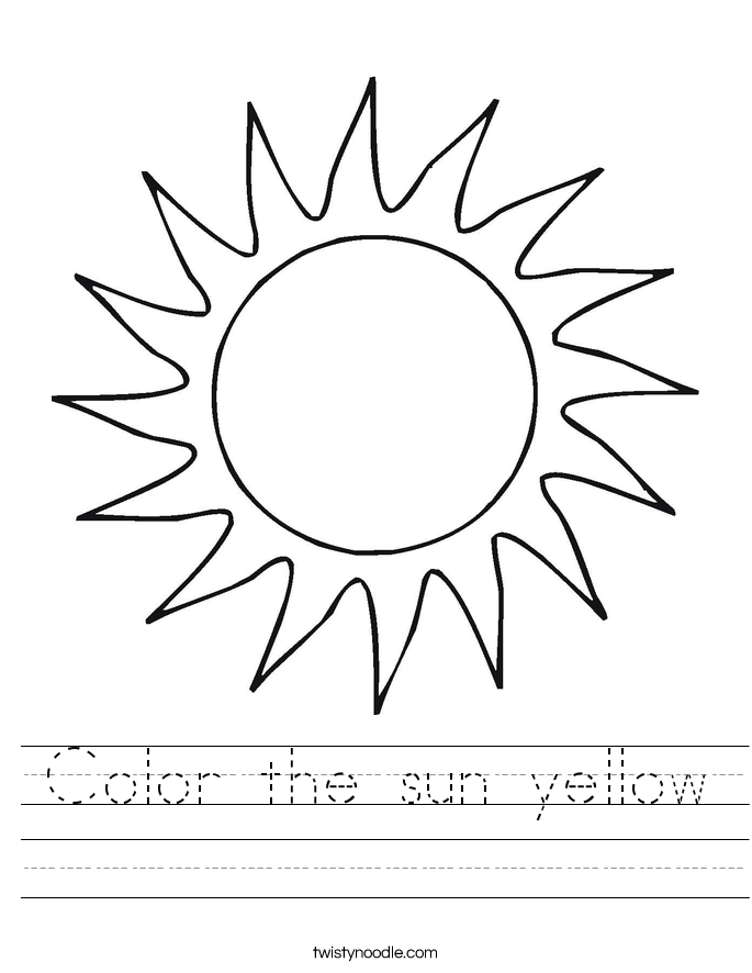 Color the sun yellow Worksheet Twisty Noodle – Sun Worksheet