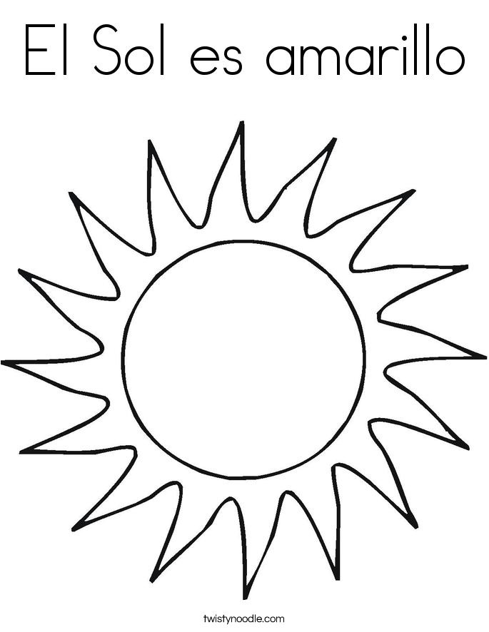 El Sol es amarillo Coloring Page
