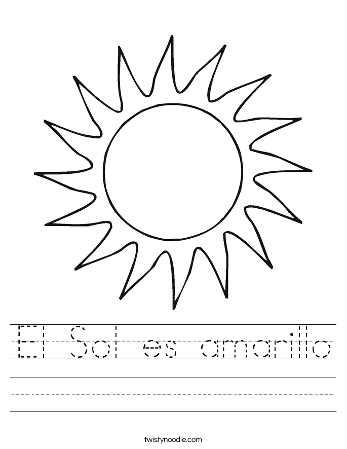 El Sol es amarillo Worksheet