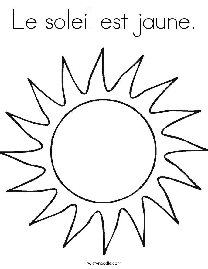 Le soleil est jaune. Coloring Page
