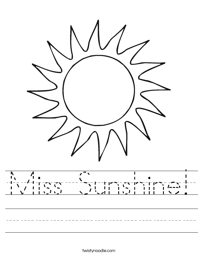 Miss Sunshine! Worksheet